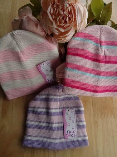 Double tricot bébé fille rayé rose violet crème bonnet 3-6-12-24 mois