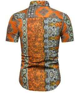Mens-Cotton-T-Shirt-Shirts-printing-Summer-Short-Sleeve-Tops-Blouse-casual-style
