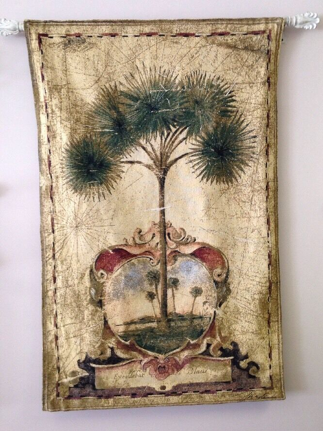 Sunrise Tropical Palm Tree Vintage Aged Look Art Large Tapestry Wall Hanging NEW