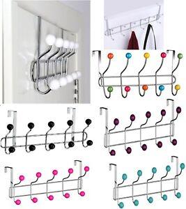 Details About Over Door Hat Coat Hooks Rack Hanger Hangers Clothes Towel Organiser Home Bath