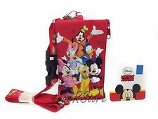 Disney Red Mickey &Friends Lanyard ID Ticket iPhone KeyChain Badge Holder Wallet