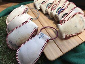 2-Official-MLB-MiLB-Rawlings-Leather-Baseball-Keychain-Major-League-Autograph