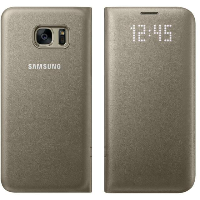 huge discount 1472b adc5b 100 Genuine Samsung Galaxy S7 Flip Wallet Card Holder LED View Case Cover  Gold