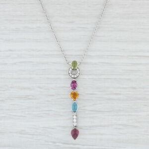 New-Bulgari-Allegra-Gemstone-Lariat-Pendant-18k-White-Gold-17-034-Bvlgari-Heart