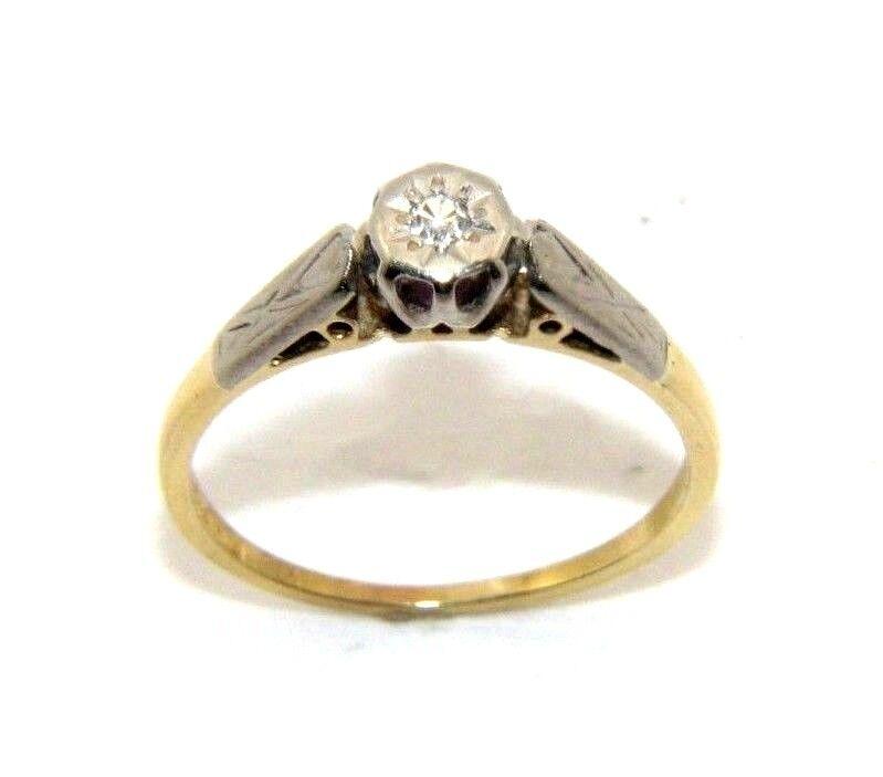 Ladies womens 18ct 18carat yellow gold antique diamond ring uk size L