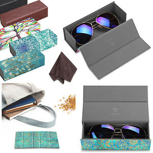 Foldable-Hard-Eyeglasses-Case-Leather-Glasses-Protective-Case-w-Magnet-Closure
