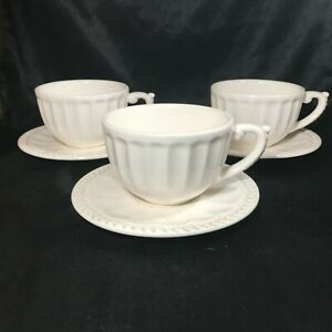 Set-of-3-American-Atelier-Anthem-Ironstone-Tea-Cup-Coffee-with-Saucers