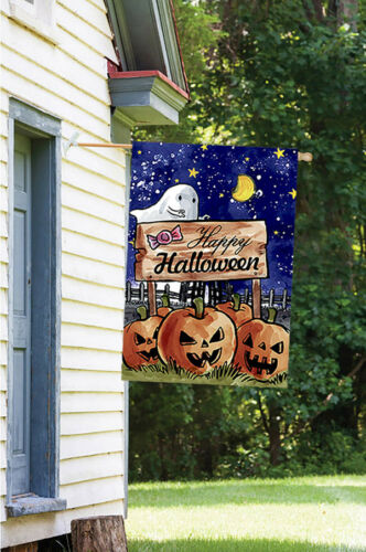 Morigins Happy Halloween Double Sided Moon Pumpkins Spooky Ghost Garden Flag Garden Décor Flags