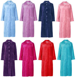 7d59564c6b Image is loading Slenderella-Womens-Button-Up-Soft-Fleece-Dressing-Gown-