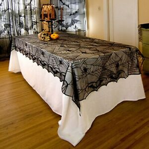Black-Lace-Bat-Spider-Halloween-Spiderweb-Tablecloth-Party-Table-Decoration-B