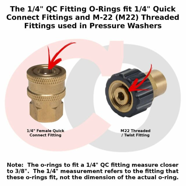 """10 pack High Temp Viton Power Pressure Washer O-Rings for 1//4/"""" Quick Coupler"""