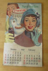 "Rare Vintage 1957 Coca Cola Coke Wall Calendar 22x12 1/4"""