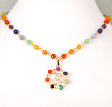 7 Chakra Gemstone Chain  Necklace, OM (OHM) Pendant, GOLD Tone, Rainbow