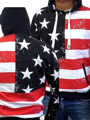 Mens soul star American Flag Print Sweatshirt pullover Hooded top Hoodie new