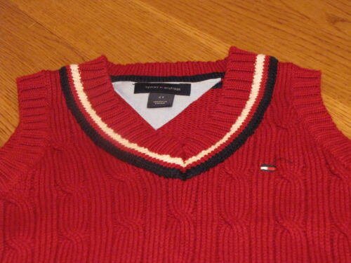 Boys youth Sweater vest pull over V neck sleeveless Tommy Hilfiger 5 red navy