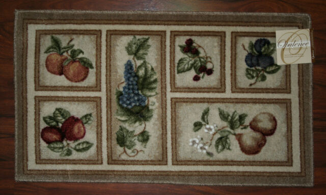 20x34 Kitchen Rug Mat Beige Tan Washable Fresh Fruit Grapes Pears Apples Peach For Sale Online Ebay