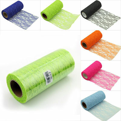 6/'/'x10 Yards Lace Roll Spool DIY Fabric Netting Wedding Table Cover Chair Sashes
