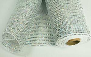 "10"" IRIDESCENT WHITE Solid Metallic Stripes Deco Flexible Mesh 3 Yards"