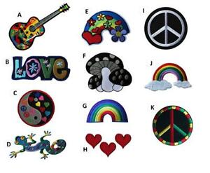 Peace Love Hippy Embroidered Iron On Sew On Patches Badges Transfers Fancy Dress