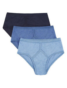 MENS-3-PACK-MARKS-amp-SPENCER-BLUES-PURE-COTTON-Y-FRONTS-SIT-ON-WAIST-BRIEFS-M-amp-S