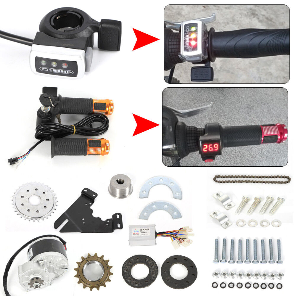 Fit Electric Common Bike 250W 24V Brush Motor&Freewheel Set Thumb Twist Kits New