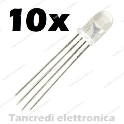 10x LED Diodes Common Cathode 4 Pin 5mm RGB Multicolour Pale 15000 mcd