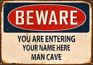 Personnalise-Mefiez-vous-Homme-Cave-Metal-Signe-Style-Vintage-Maison-Mur-Porte-Plaque
