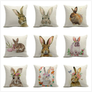 Details About Happy Easter Bunny Pillow Cover Linen Sofa Cushion Home Decor Case