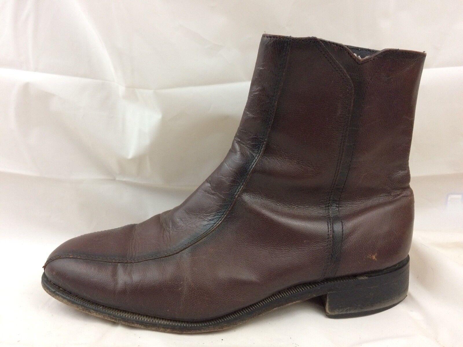 Florsheim braun Burgundy Leather Ankle Zip Stiefel Mens 9.5 EEE Extra WIDE 11087