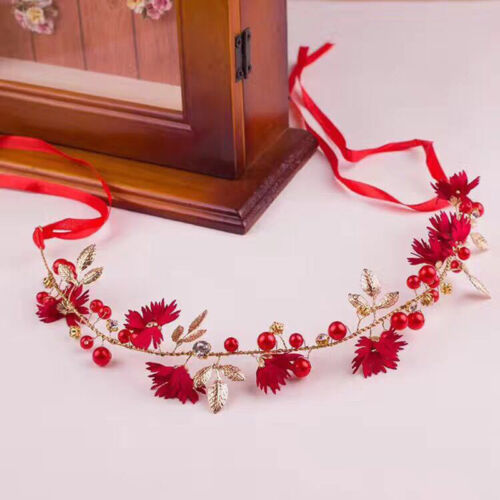 Women Flower Headband With Ribbon Wreath Wedding Party Floral Crown Hairband