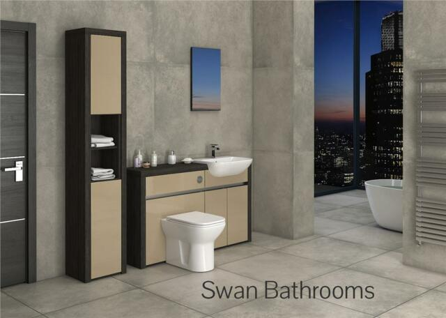 HACIENDA / CAPPUCCINO GLOSS BATHROOM FITTED FURNITURE WITH TALL UNIT 1800MM