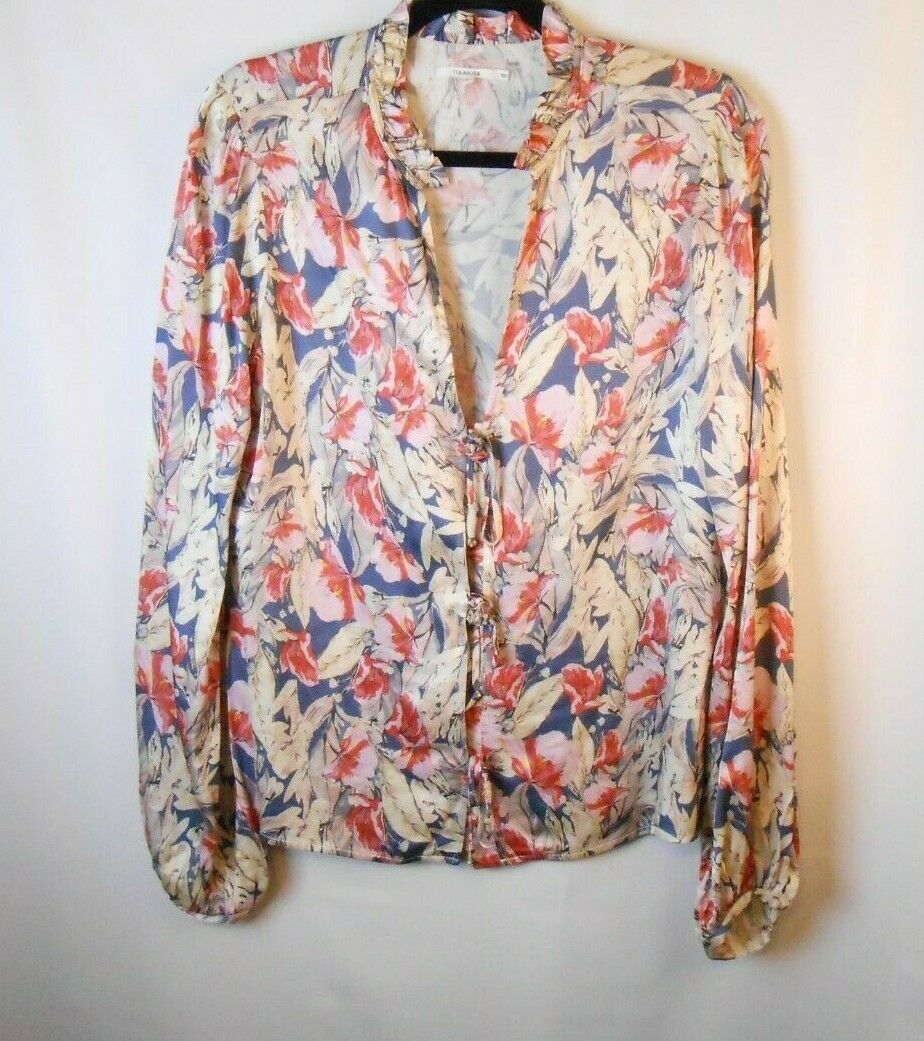 TulaRosa Größe Small Rosa Blau Floral Top Satin Feel Tie Front Long Sleeve Blouse
