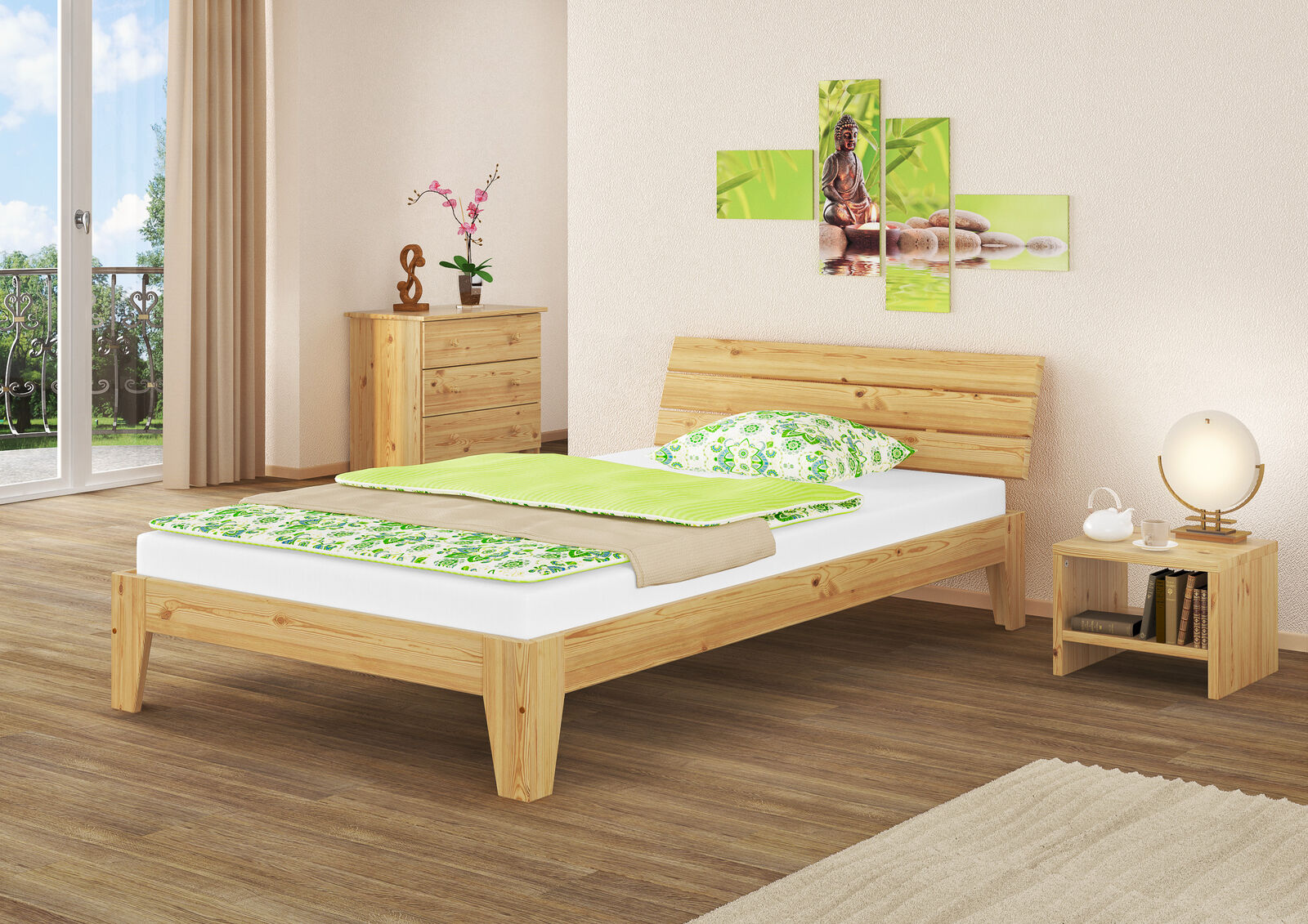 Bois massif Lit 140x200 avec rollrost lits bois naturel lits en bois 60.62-14