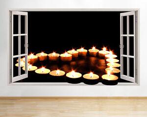 C132-te-luz-velas-de-llama-Salon-pared-pegatina-pared-vinilo-3d-habitacion-ninos