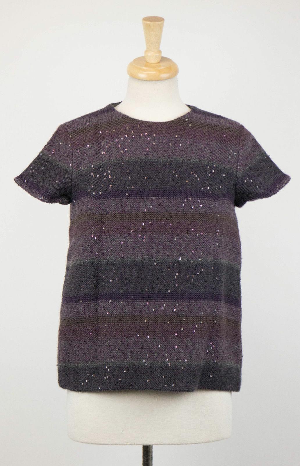 NWT BRUNELLO KUCINELLI lila Cashmere Blent Knit tröja w   Sekin Storlek M