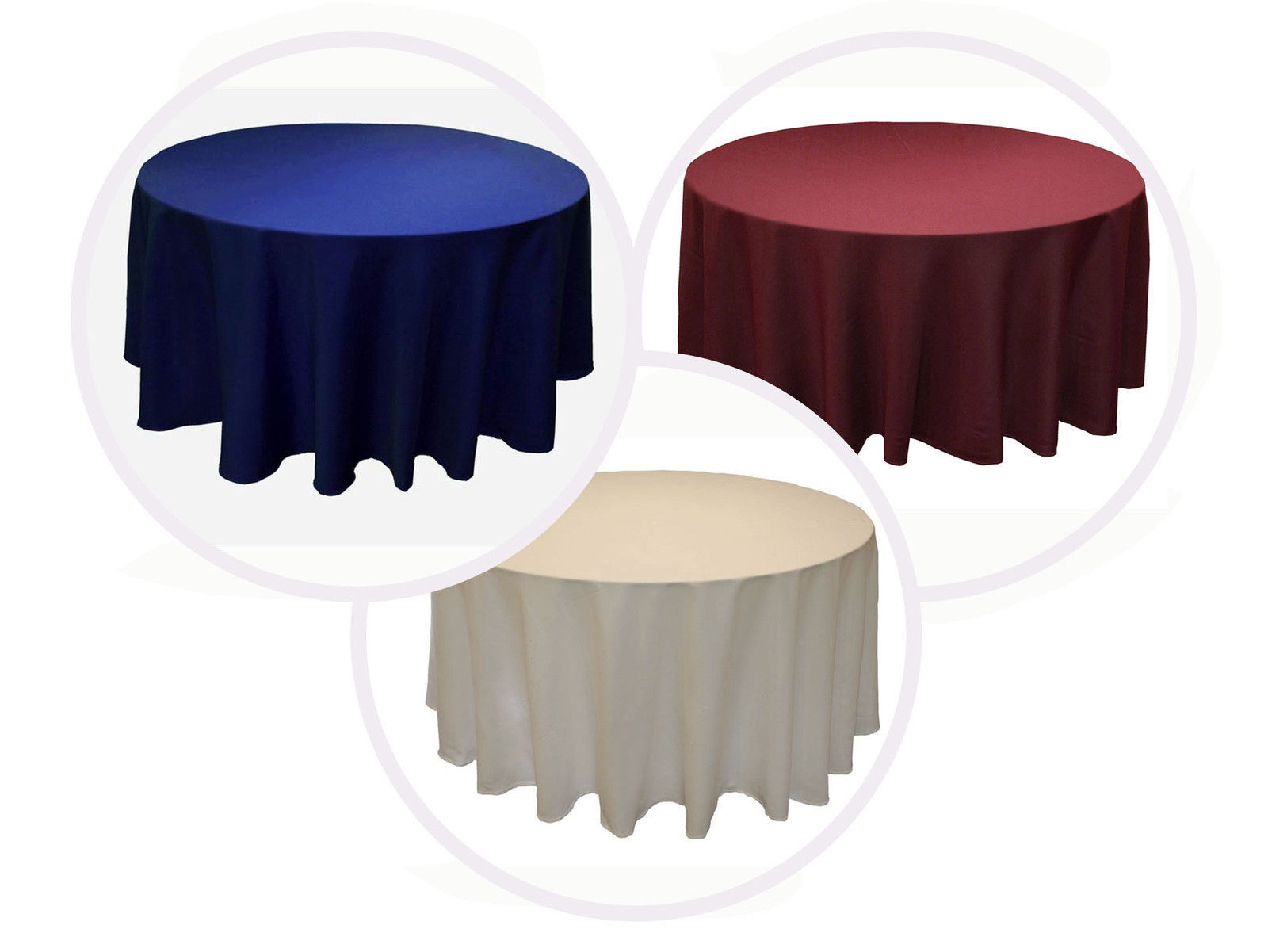 19 Paquets 120 Pouces Nappe Ronde Polyester Mariage 25 Couleur 5'ft Table