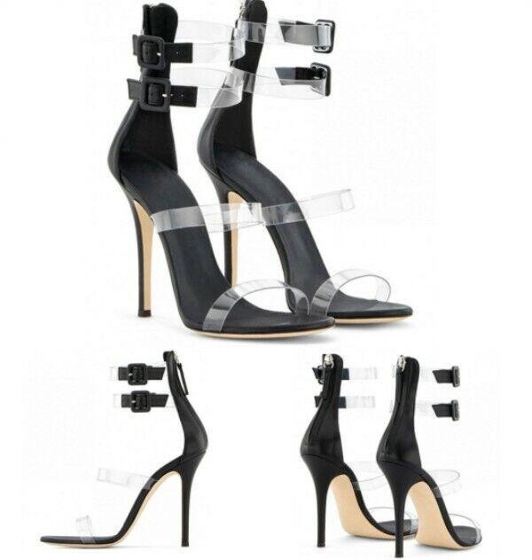 Donna Open Toe High Stiletto Heel scarpe Buckle Decor Back Zip Sandals Cut Out
