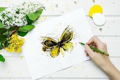 Yellow Butterfly Art Print Living Room Wall Art Yellow Home Decor Gift Idea Ebay