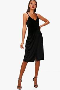 9e8b53279e86d Boohoo Tall Julia Side Split Velvet Midi Dress Size 12 Uk BNWT RRP ...