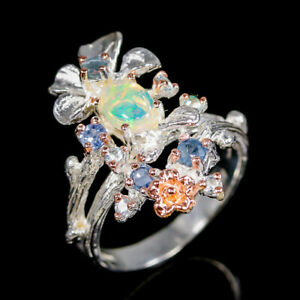 Opal-Ring-Silver-925-Sterling-Beauty-Rainbow-SET7x5mm-Size-8-R137019