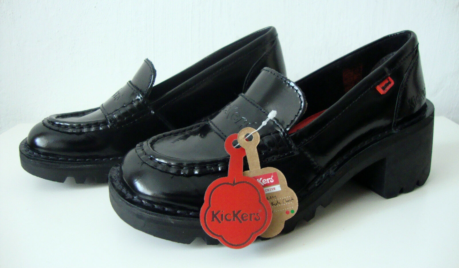 Leder KOPEY KICK KICKERS Loafers ETIKETT mit NEU Schwarz