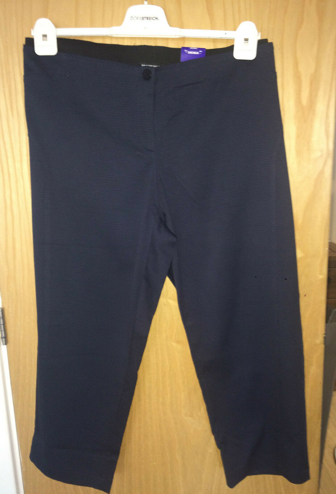 NWT FRANK WALDER  BRENDA  NAVY TEXTURED CROPPED TROUSERS SZ 26 RRP