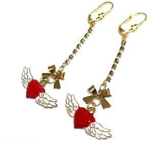 Betsey-Johnson-Wings-of-Heart-Crystal-Dangle-Earrings-US-Seller-Fashion-Jewelry