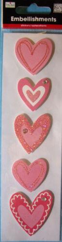 NEW 5 pc HEARTS Pink Heart Glitter Ellen Krans  3D Sticker Embellishments MAMBI