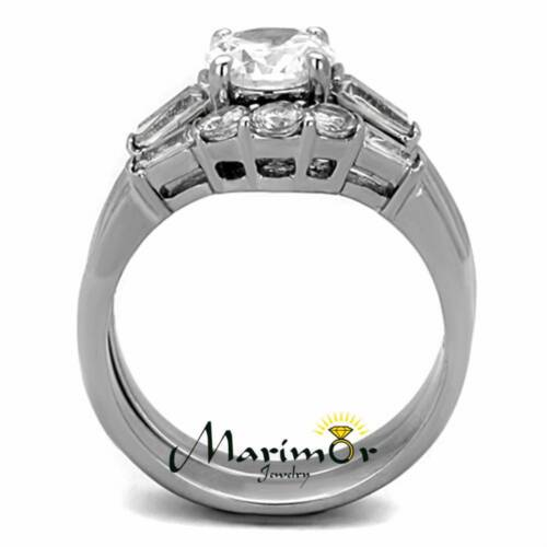 Hers and His Stainless Steel Bridal Engagement Ring Set /& Zirconia Wedding Band