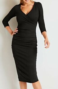 New-Bravissimo-8-18-CRC-RSC-LEILA-3-4-sleeves-Black-Party-Ruched-Bodycon-Dress