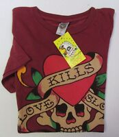 NWT Ed Hardy Men's Graphic Tee T-Shirt Love Kills Slowly Burgundy Red Size S