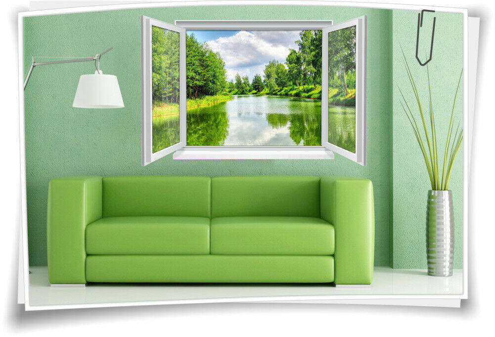 3D Fenster Wandbild Wandtattoo Aufkleber Wasser Fluss Natur Wohnzimmer Deko Bad