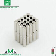 "40-count neodymium N40 Ndfeb cylinder magnets 1/8 x 3/8"" (true N40)"
