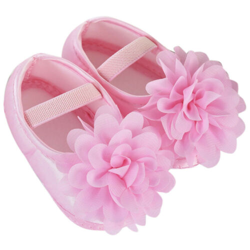 New Pink Flower Baby Girl Formal Shoes First Walkers Wedding Soft Sole 0-9 Month